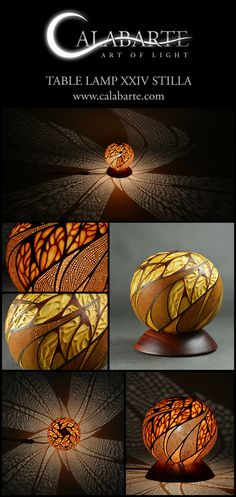 Handcrafted Table lamp XXIV Stilla made of gourd by Calabarte.