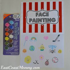 This site has a bunch of fantastic DIY carnival games and activities. including this face painting station (with simple ideas for face painting designs). Carnival Themed Party, Carnival Birthday Parties, Birthday Party Games, Circus Theme, Circus Party, Carnival Games For Kids, Kids Party Games, Diy Games, Carnival Activities