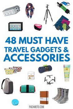 48 must have travel gadgets and accessories as recommended by seasoned travelers to gift to the travel lover on your list. Travel Items, Travel Gifts, Travel Products, Travel Things, Travel Stuff, Gifts For Travelers, Packing Tips For Travel, Travel Advice, Packing Lists