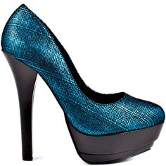 Tousle your look and go for a unique look with the Tatianna.  Just Fabulous provides you with a teal metallic upper with a cross hatching print and 1 1/4 inch platform.  A black synthetic wraps around the 5 inch heel for a contrast to this eye catcher.