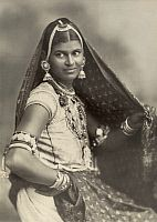 GUYANA.   A portrait of a young woman in traditional Indian clothing and jewels. Eugene Klein.