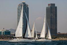 Regata en veleros para un Team Building en Barcelona. 15 veleros y 90 participantes.