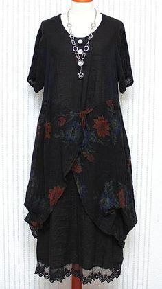 SARAH SANTOS DIVERSE 100% LINEN MAXI DRESS BLACK & MULTICOLOUR QUIRKY LAGENLOOK