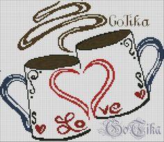 Resultado de imagen para taza de cafe en punto de cruz