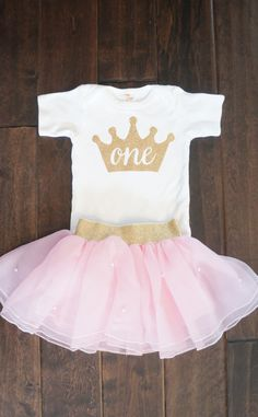 First Birthday outfit Gold One crown for Baby Girls or Toddlers Birthdays onesie first birthday Princess Birthday- top only by GraceandLucille on Etsy https://www.etsy.com/listing/232973306/first-birthday-outfit-gold-one-crown-for