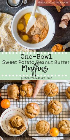 One-Bowl Sweet Potato Peanut Butter Muffins are easy peasy to whip up and a delicious way to get vitamin-rich sweet potato into your family's bellies. Paired with delicious peanut butter and made with just 8 real food ingredients, these muffins make the perfect addition to any breakfast or as a healthy snack. #veggieloaded #hiddenveggies #glutenfreemuffins #glutenfreebaking #dairyfreemuffins #dairyfreebaking #onebowlrecipes
