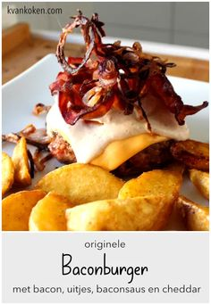 Baconburger – De K van Koken Hamburgers, Cheddar, French Toast, Bacon, Bbq, Breakfast, Food, Crickets, Barbecue