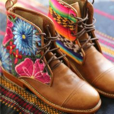Flores - one of a kind beautiful boots made in Guatemala from old Huipiles by Teysha