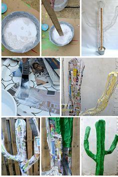 Easy DIY Giant Paper Mache Cactus