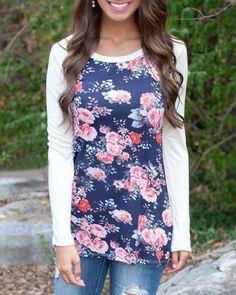 Trendy Scoop Neck Floral Print Long Sleeve Baseball T-Shirt For Women