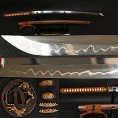"41"" Handmade Japanese Samurai Tiger Sword Katana Clay Tempered Full Tang Blade | Handmade Swords Expert 1095 Steel, Ajin Anime, Bull Horns, Japanese Sword, Knives And Swords, Katana, Sword Art Online, Samurai, Weapons"