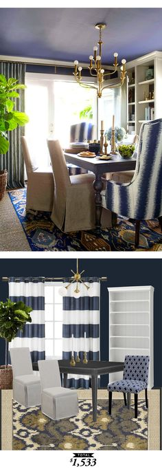 A layered dining room in navy originally designed by @brianpflynn and recreated for only  $1533