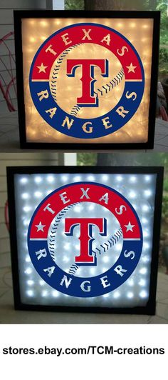 MLB Major League Baseball Texas Rangers shadow boxes with LED lighting