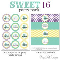 Sweet 16 Party Kit Happy Sweet 16 Party Decor by SugarTotDesigns, $15.00