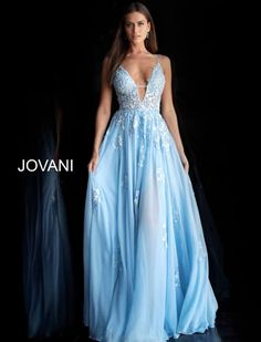 Light blue floral embroidered plunging neckline prom dress 58632 in Jovani Wedding Dresses, Flowy Prom Dresses, Bodice Wedding Dress, Pretty Prom Dresses, Jovani Dresses, Lace Dress, Grad Dresses, Light Blue Long Dress, Baby Blue Wedding Dresses