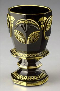 Goblet - hyalithe  South Bohemia, Buquoy´s glass house, Jiříkovo údolí, about 1835.