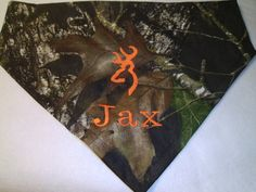 Camo, Dog Bandana, Personalized,  Monogram, Over the Collar, Dog Bandana, Hunting,  Dogs, Orange by debsattic2. Explore more products on http://debsattic2.etsy.com