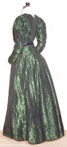 c1897 Rich Green Silk Brocade 2 Piece Gown