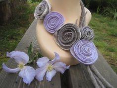 Boho necklace Lilac necklace Felt flowers Felt jewelry Wool necklace Boho collar Boho statement necklace Taupe necklace Felted necklace - pinned by pin4etsy.com