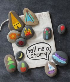 "mommo design - SUMMER CRAFTS - Story stones.  I like this for a ""summer school"" idea - have them chose a few rocks and then write a story.  :)"