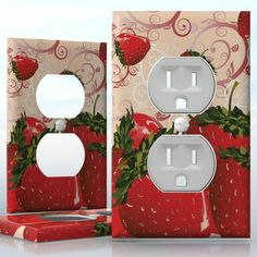DIY Do It Yourself Home Decor - Easy to apply wall plate wraps | Strawberry Delight  Strawberry pattern with swirls  wallplate skin sticker for 1 Gang Wall Socket Duplex Receptacle | On SALE now only $3.95