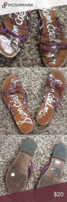 Purple/black print with silver strappy sandals Excellent condition! Worn on the bottoms, but not on tops! Purple and black snakeskin print straps and silver big toe strap. Perfect for summer! Bundle for further discounts! Sam Edelman Shoes Sandals