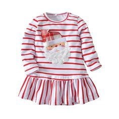 0af3ac88c17a Christmas Girl Dress Stripe Long Sleeve Cotton Size 4 110 CM Thanksgiving  Dress  fashion