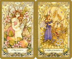 Mystic Faerie Tarot: The Lovers and 8 of Pentacles