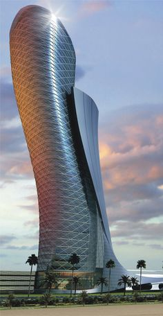 Capital Gate - Abu Dhabi, U.A.E.;  designed by RMJM;  the 35 story tower leans westward at 18 degrees – 4 times more than the Leaning Tower of Pisa;  the tower will offer office space as well as a hotel