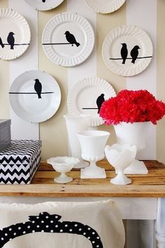 """Birds On a Wire"" Plate Wall"