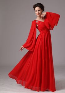 short formal v neck dresses with cap sleeves for plus size | Red V-neck Appliqued Formal Prom Dress with Long Sleeves in Abilene