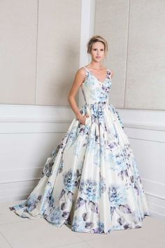 Printed wedding dress. Love these floral prints!
