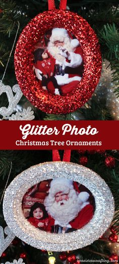 These DIY Glitter Photo Christmas Tree Ornaments are beautiful and easy to make. These handmade sparkling picture frame ornaments will display your favorite family holiday memories right there on your Christmas Tree for all the years to come. Follow us for more great Christmas Decorations ideas and crafts.