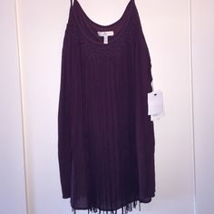 NWT Joie Smocked Fringe Tank Joie brand double layered tank smocked into a beautiful pattern around the neckline, with long fringe. Never worn, tags still attached. 100% silk chiffon in a gorgeous merlot/burgundy/purple hue. Joie Tops Tank Tops