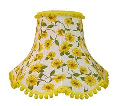Sunflower Scalloped Fabric Lampshade Yellow Pom Pom Decoration For A Wall Light, Table Lamp or Ceiling Light