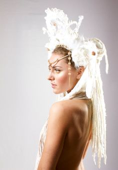 White Headdress Goddess Arianrhod by lotuscircle on Etsy