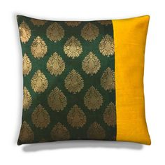 Green Gold and Yellow Raw Silk  Brocade Pillow by DesiCraftShop