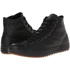 Converse Boot Mid Lace-up Boots, Black ($56) ❤ liked on Polyvore featuring shoes, boots, ankle boots, black, leopard print boots, bootie, black shoes, famous footwear and short black boots