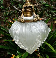 Antique Art Deco French Cast Glass Hanging Lamp Shade Signed Primaflore Antiques