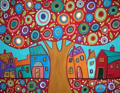 Red Tree Pastel  - Red Tree Fine Art Print