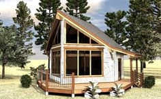 The Sabine. 612 sq ft. Small A-frame studio cabin with loft.