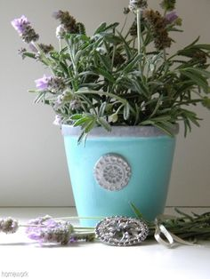I love this pretty pot!  Would make a great gift too.  homework: The Dirt: an inspired herb pot
