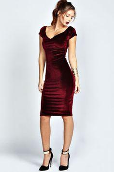 Vivian Velvet Midi Bodycon Dress at boohoo.com