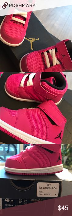 Nike Air Jordan NWT pink 4C kids New with tags and box. Too small for my baby! Couldn't return Nike Shoes Sneakers