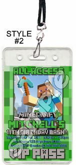 MINECRAFT VIP PASSES WITH LANYARDS
