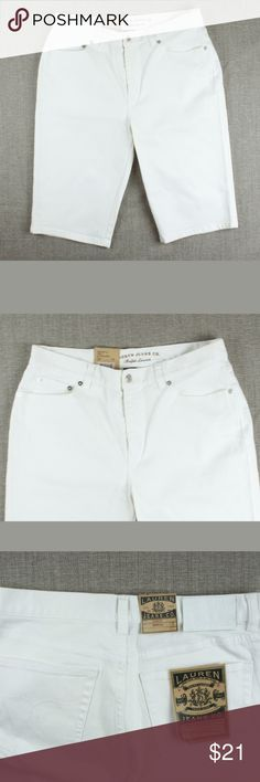 "New RALPH LAUREN Denim Classic Bermuda Shorts Size - 8  These new white denim classic bermuda shirts from LAUREN RALPH LAUREN feature a zip up closure and traditional 5 pocket styling.   Measures: Waist: 32"" Rise: 10"" Hips: 39"" Inseam: 13"" Lauren Ralph Lauren Shorts Jean Shorts"