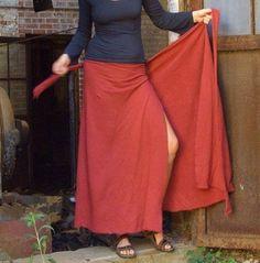Family syle - plus: Long Wrap Skirt (hemp/organic cotton knit). $125.00, via Etsy.