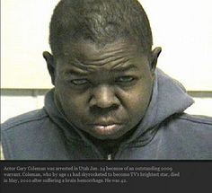 2010 booking photo provided by the Utah County jail shows Gary Coleman. Coleman, was arrested in Utah Sunday on a warrant for failing to appear in court, police said. Funny Mugshots, Celebrity Mugshots, Celebrity News, Celebrity Photos, Arnold Schwarzenegger, Crazy Celebrities, Celebs, Gary Coleman, Movies