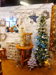 White and Blue Christmas display