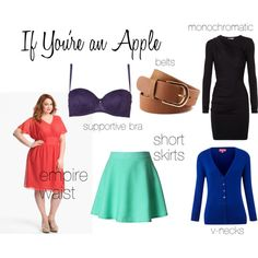 Dressing your Apple Shape by mythtiftychic, via Polyvore